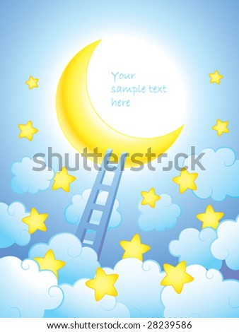 Ladder to the moon - stock vector