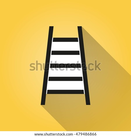 Ladder vector icon with long shadow. Illustration isolated on yellow background for graphic and web design.
