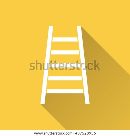 Ladder vector icon with long shadow. White illustration isolated on yellow background for graphic and web design.