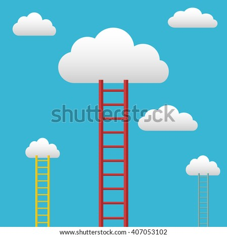 Ladders leading to the clouds, success and goals vector background - stock vector