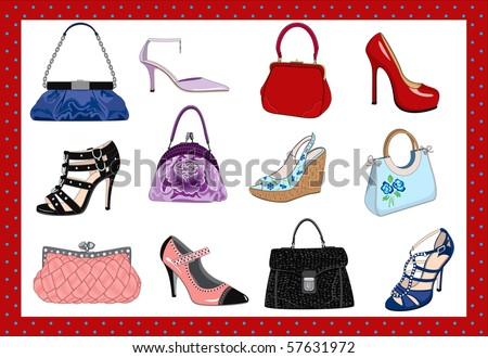 Ladies bags and shoes - stock vector