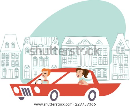 Ladies driving vintage auto in the city - stock vector