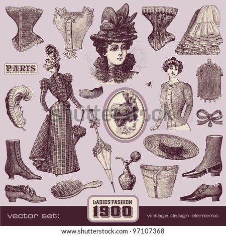 Ladies' Fashion and Accessories (1900) - stock vector