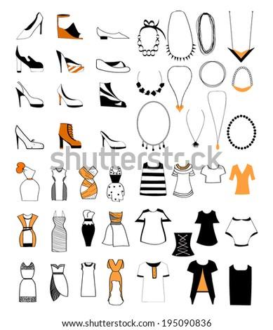 ladies fashion shoes necklace set - stock vector