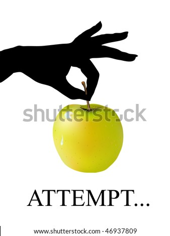 ladies hand with apple - stock vector
