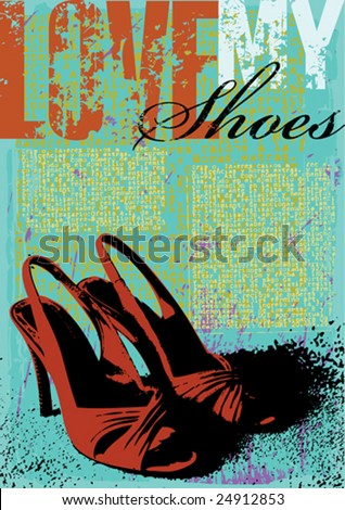 Ladies shoes Grunge style Template Vector - stock vector