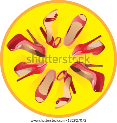 Ladies shoes in a yellow circle