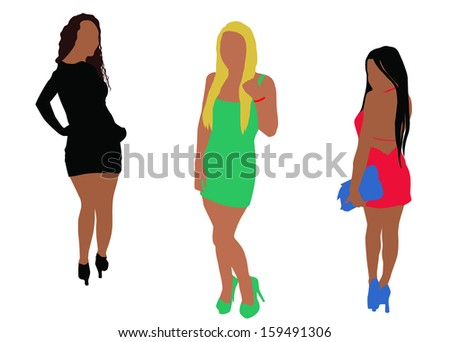 Ladies silhouette - stock vector