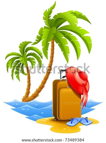 ladies travel suitcase tropical beach with palms bonnet and slippers on sand vector illustration isolated white background - stock vector