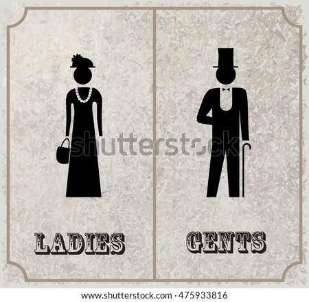 toilet sign vintage style lady gentleman stock vector 271629164 shutterstock. Black Bedroom Furniture Sets. Home Design Ideas
