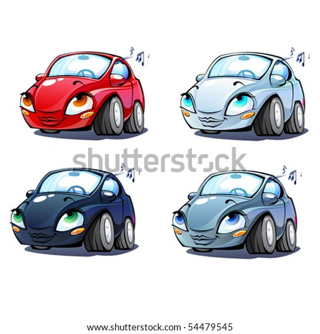 Lady Car set- four vector characters in different colors.