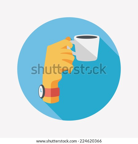 lady drinking coffee flat icon with long shadow,eps10 - stock vector