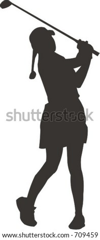 Lady Golfer - stock vector