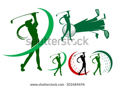 lady golfer icons golf icon logo - stock vector