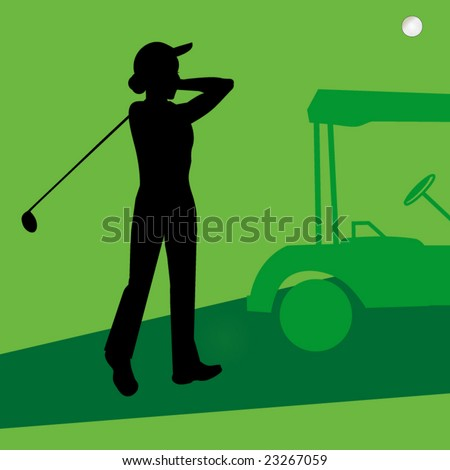 lady golfer with cart - stock vector