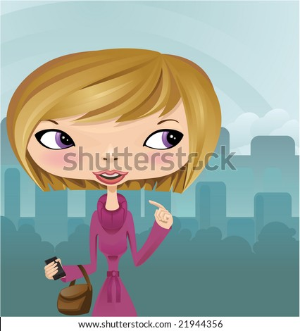 Lady holding cellphone - stock vector