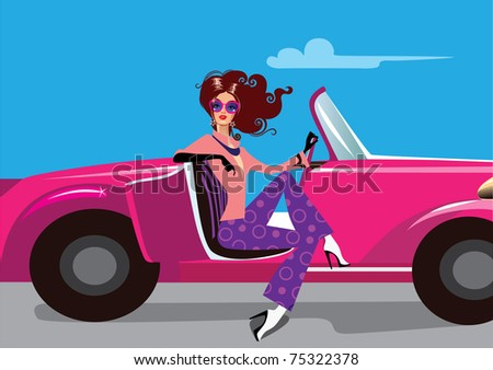 lady in auto - stock vector