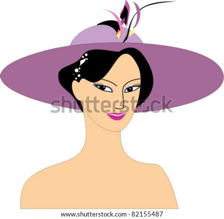 Lady in hat - stock vector