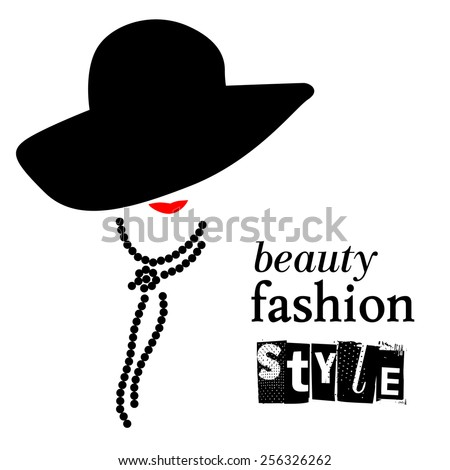 Lady in hat flat simple illustration. Abstract fashion retro stylish girl with red lips portrait isolated on white background. Beauty model silhouette. Fashion girl. Accessories, necklace, beads. - stock vector