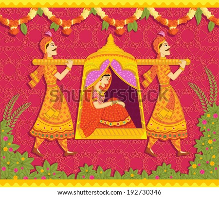 Lady in palanquin in Indian art style - stock vector