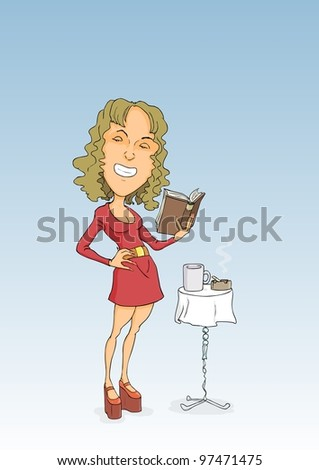 Lady in red dress reading a book and smoking - stock vector