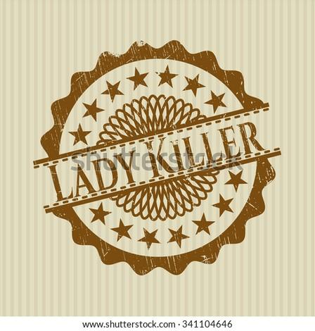 Lady Killer rubber grunge stamp - stock vector