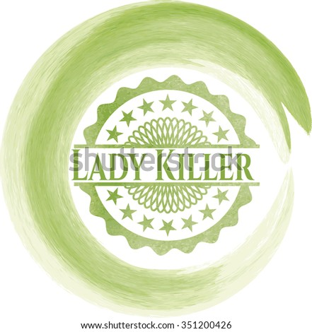 Lady Killer watercolor background - stock vector