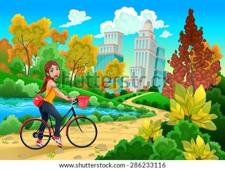 Lady on a bike in a urban park. Cartoon vector illustration - stock vector