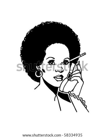 Lady On The Phone 2 - Retro Clip Art