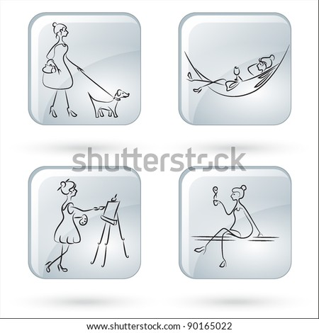 lady's hobby - stock vector