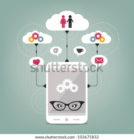 lady's smart phone concept - stock vector