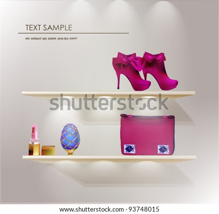 lady's things on the shelves