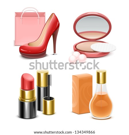 lady's vector icon set - stock vector