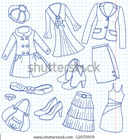 Lady's wear and accessories - stock vector