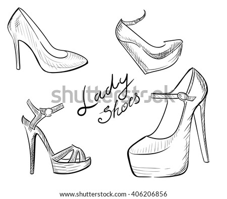 shoes heels drawing. lady shoes sketched woman\u0027s shoe vector illustration collection of fashion high heels drawing