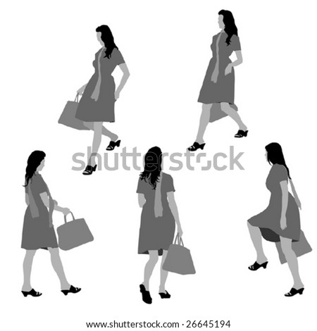 lady shopping, collection for designers - stock vector