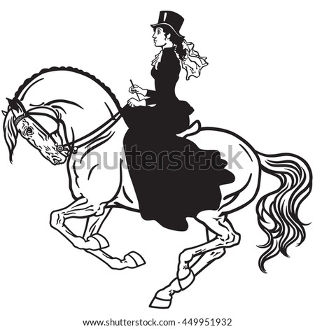 lady sitting on a horse. Woman side-saddle horseback riding. Black and white isolated vector