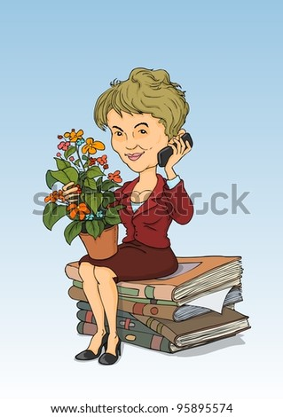 Lady talking on the phone, sitting on a pile of books - stock vector