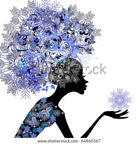 Lady winter with snowflakes - stock vector