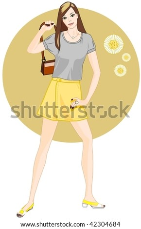 Lady with a miniskirt - stock vector