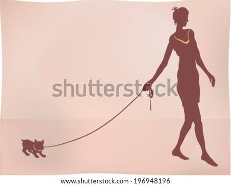 Lady with her dog in retro style silhouette - stock vector