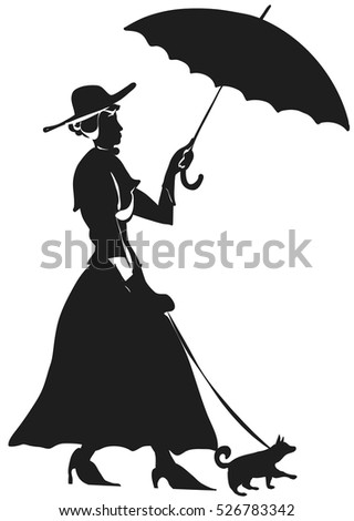 Lady with her dog silhouette