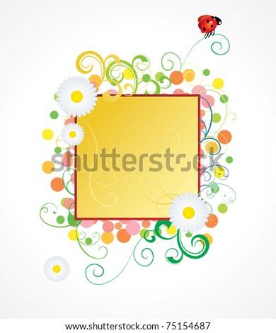 ladybird and daisy frame - stock vector