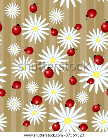 ladybug and daisy on a striped background - seamless texture - stock vector