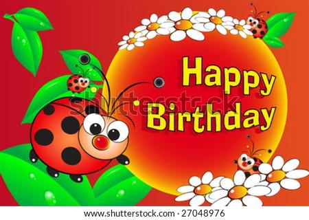 Ladybug flowers birthday card kids stock vector 27048976 shutterstock ladybug and flowers birthday card for kids bookmarktalkfo Gallery