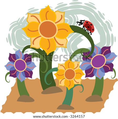 Ladybug climbs stalk of green flowering plant in this illustration with blooming flowers.