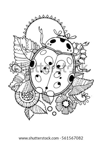 Ladybug Coloring Book Vector Illustration Anti Stress For Adult Tattoo Stencil