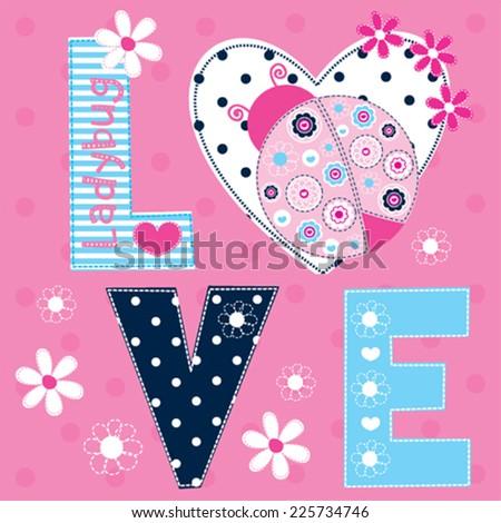 ladybug love card vector illustration - stock vector
