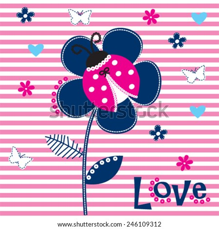 ladybug with flower on striped background vector illustration - stock vector