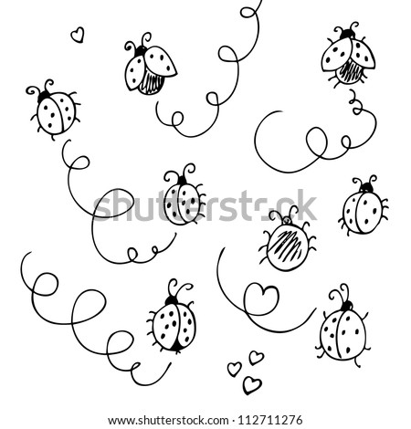 Ladybugs and lines cartoon isolated on a white - stock vector